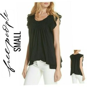 Free People We the Free Coconut Gathered Top NWT S